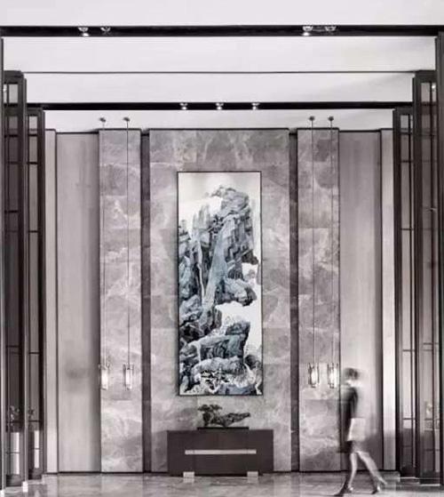 客厅背景云多拉灰大理石安装
