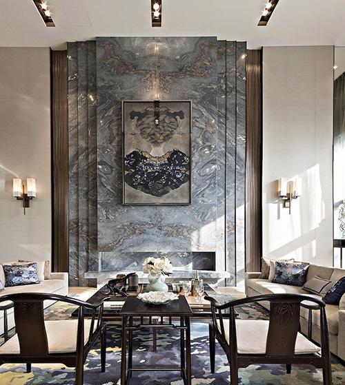 客厅背景大理石安装