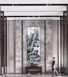 大连客厅背景云多拉灰大理石安装