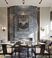 大连客厅背景大理石安装